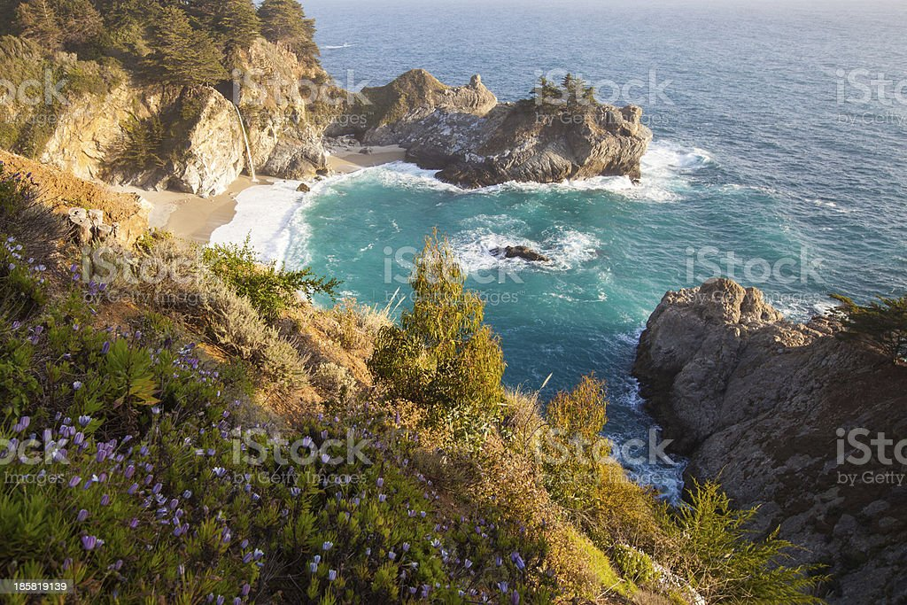 Mcway falls - Pacific coast highway in spring stock photo