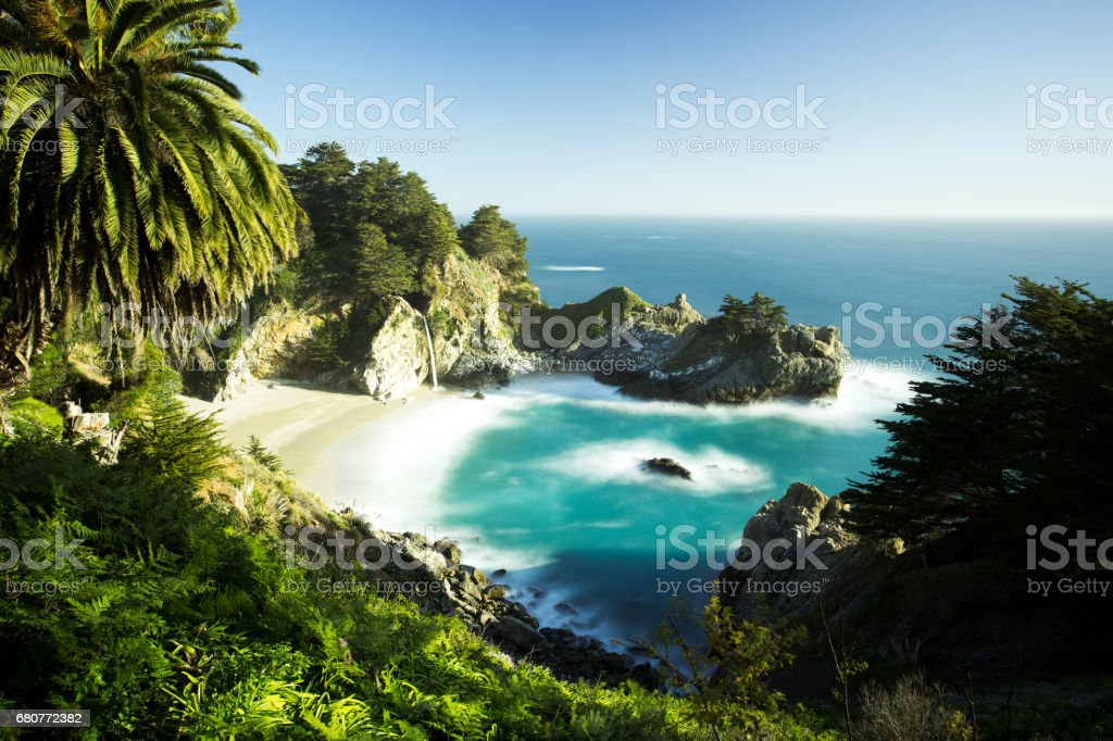 McWay Waterfalls at Beautiful Sunset, Road Number 1, California stock photo