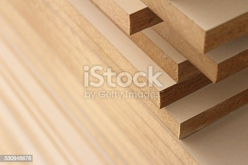 MDF wood boards in the carpentry