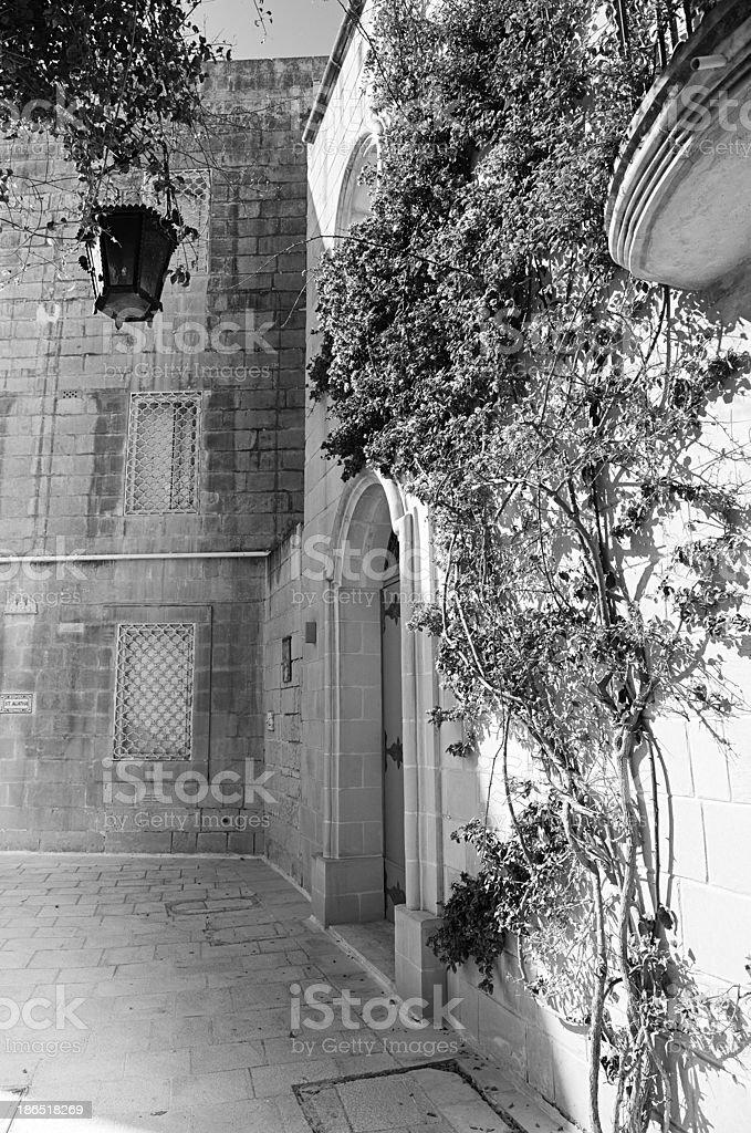 Mdina courtyard, black and white royalty-free stock photo