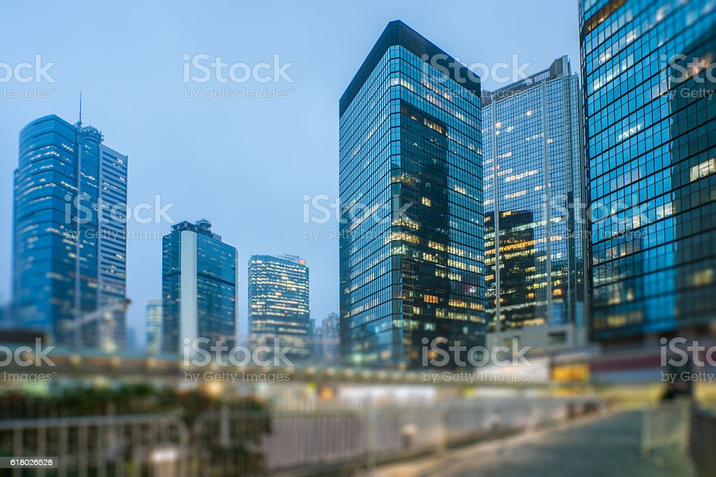 mdoern skyscrapers in central district of Hong Kong stock photo
