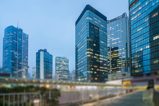 mdoern skyscrapers in central district of hong kong - foton med hongkong bildbanksfoton och bilder