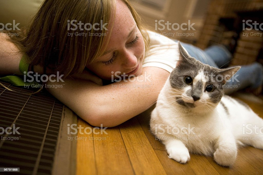 Me and My Cat royalty-free stock photo