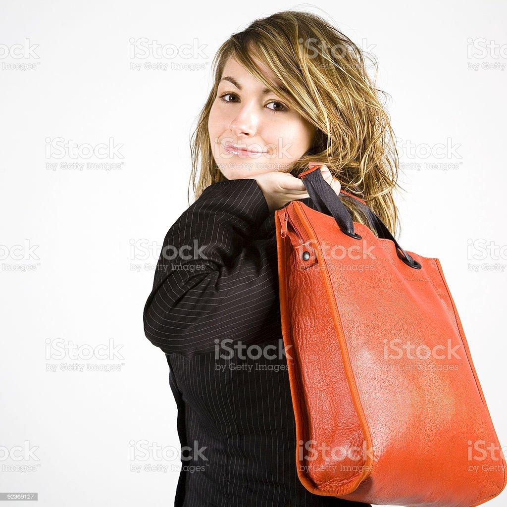 Mich und meine neuen Handtasche Lizenzfreies stock-foto