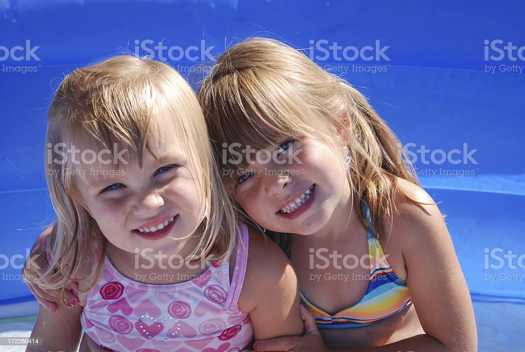 Me and My Sister in the Pool stock photo