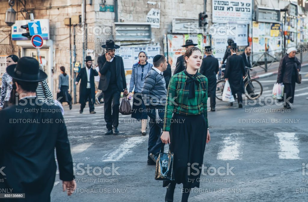 Mea Shearim Neiborhood in Jerusalem stock photo