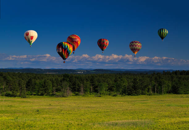 Meadow and mountain scene with hot air balloons. stock photo