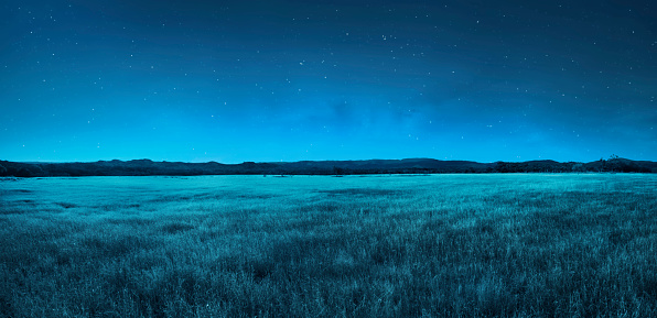 istock Meadow landscape at night time 862271202