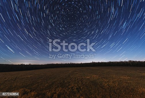 The stars spin above a vast Nova Scotian meadow.  Long exposure in Moonlight.