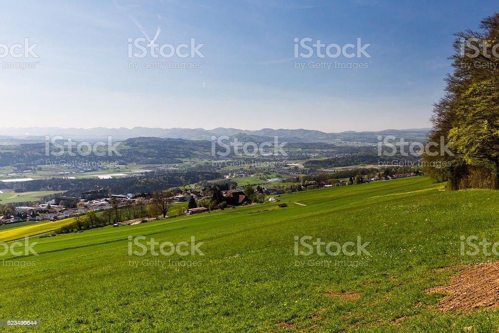Meadow on Mountain Heitersberg stock photo