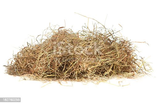 Meadow hay on white