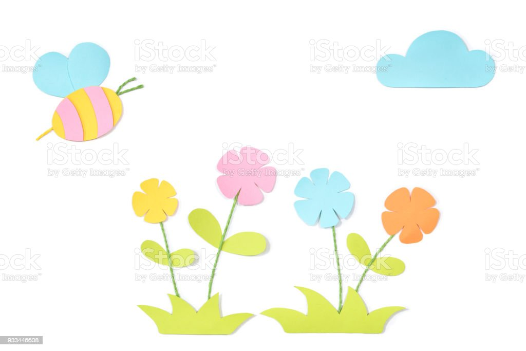 Meadow with bee paper cut on white background stock photo
