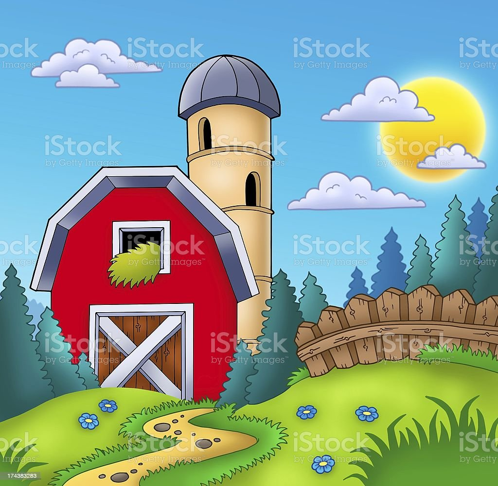 Meadow with big red barn royalty-free stock photo