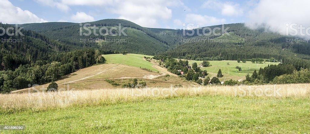 meadow withKralicky Sneznik mountain range on the background stock photo
