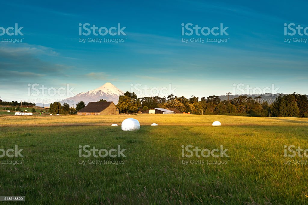 Meadows and volcano stock photo