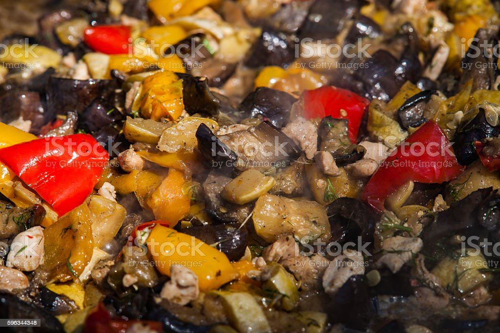 Meal of eggplants, vegetables and meat royalty-free stock photo