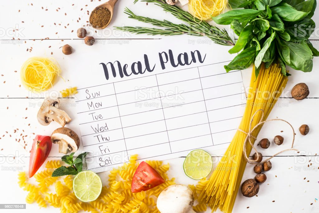 A meal plan for a week on a white table among products for cooking - pastas, basil, vegetables, lime, seeds, nuts and spices. Top view, flat lay, copyspace