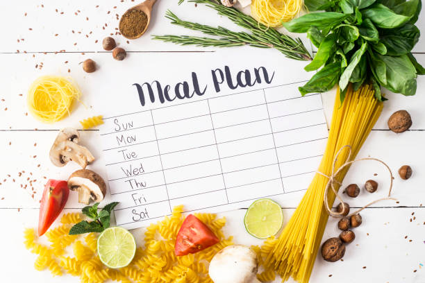 a meal plan for a week on a white table among products for cooking - pastas, basil, vegetables, lime, seeds, nuts and spices. top view, flat lay, copyspace - refeições imagens e fotografias de stock