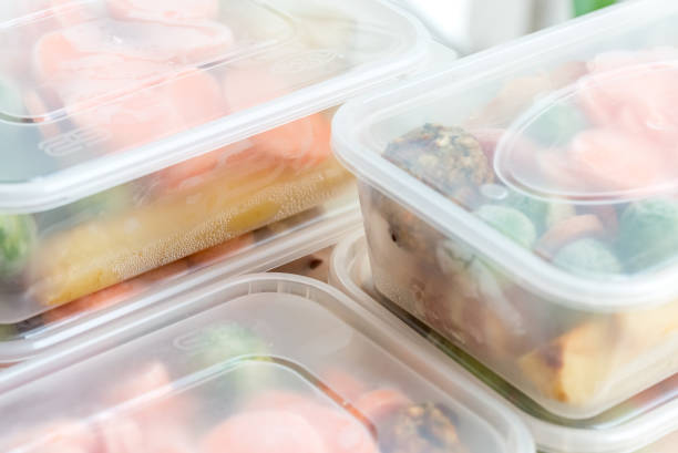 Meal prep. Close up of roast dinners in containers. stock photo
