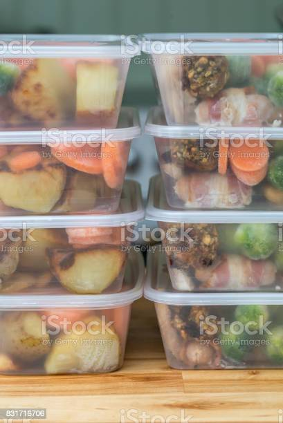 Meal Prep Stack Of Home Made Roast Dinners Vertical Stock Photo - Download Image Now