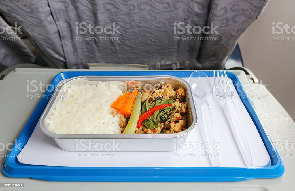 Meal serve on airplane for passenger stock photo