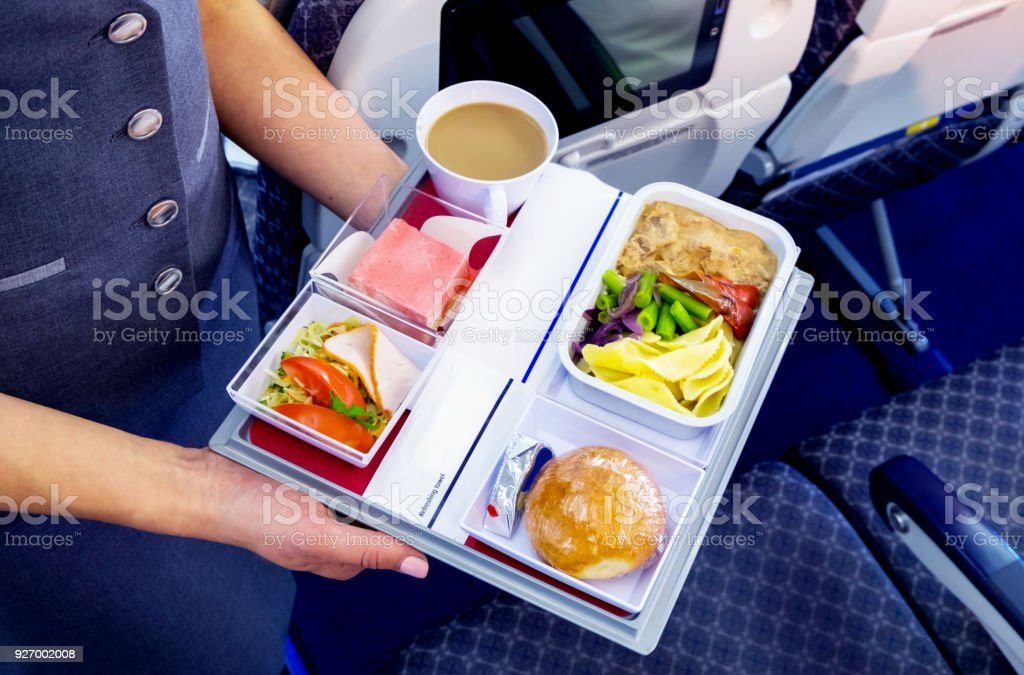 Meal served on board of airplane stock photo