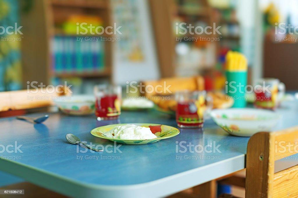 Meal time in kindergarten. Lizenzfreies stock-foto