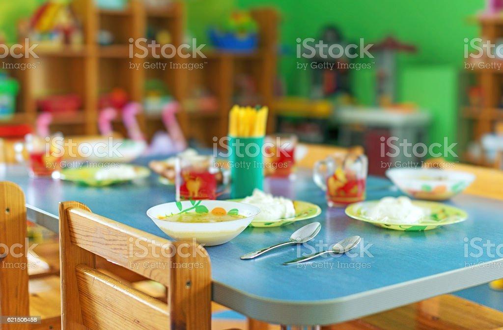 Meal time in kindergarten. foto stock royalty-free
