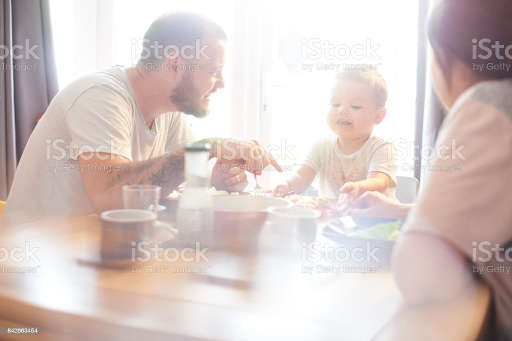 Meal times are fun stock photo