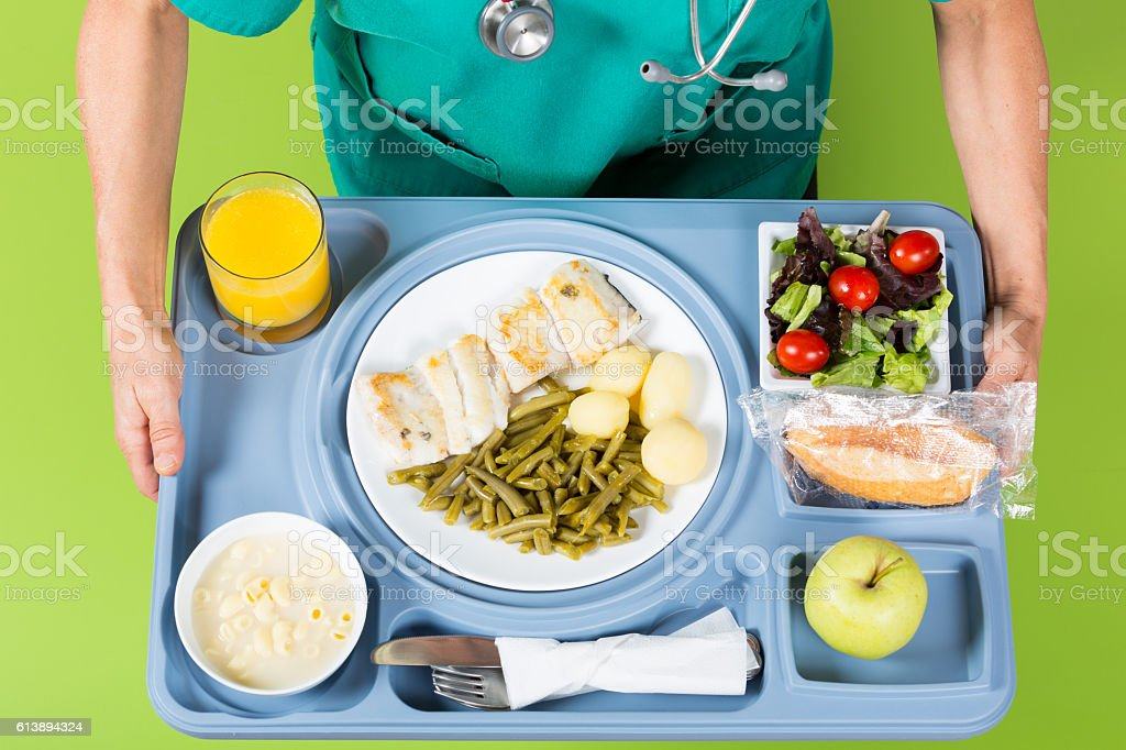 Meal tray of a hospital stock photo