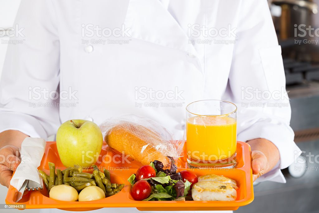 Meal tray of a school stock photo