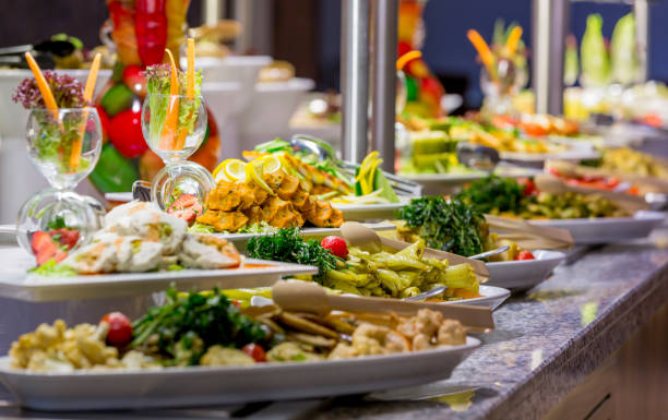 Meals on buffet stock photo