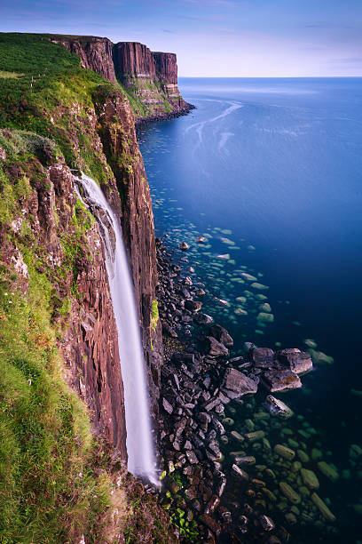Mealt Waterfall on the Isle of Skye Coast / Scotland Dramatic Mealt waterfall on the Isle of Skye Coast, Scotland isle of skye stock pictures, royalty-free photos & images