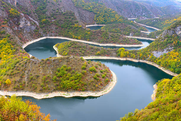 meander of uvac river, serbia - serbia stock photos and pictures