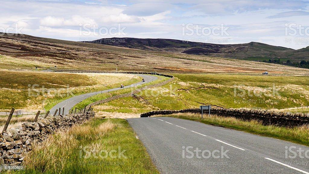 Meandering moorland road stock photo