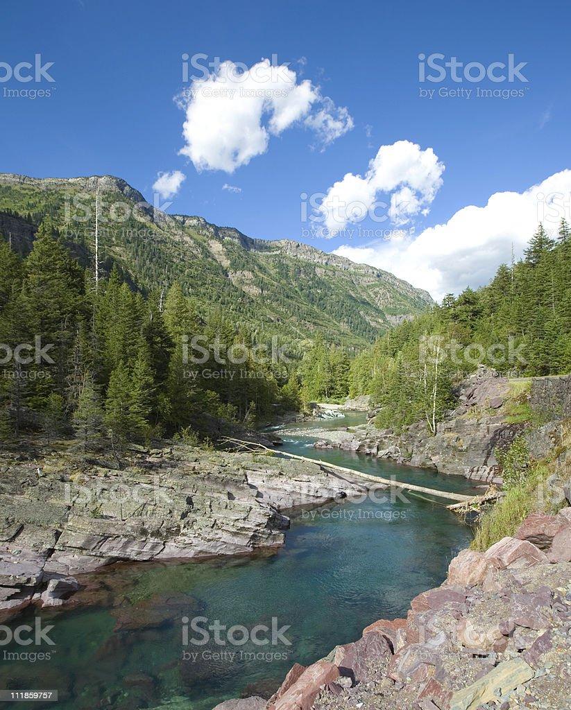 Meandering River in Glacier National Park royalty-free stock photo
