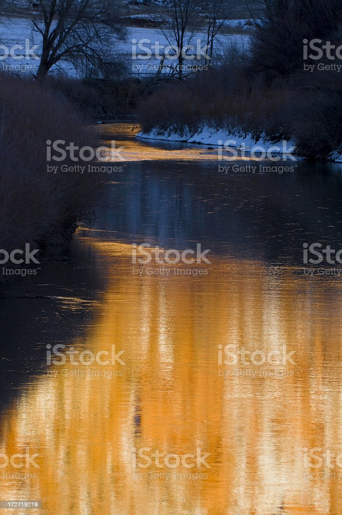 Meandering River Reflections in the Desert Southwest royalty-free stock photo
