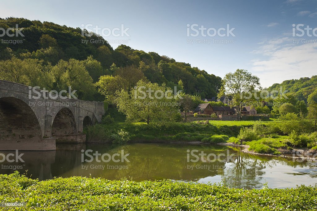 Meandering River Wye, Idyllic rural stock photo