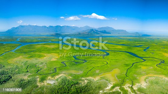 Meandering rivers and mangroves in front of Hinchinbrook Island, Queensland, Australia