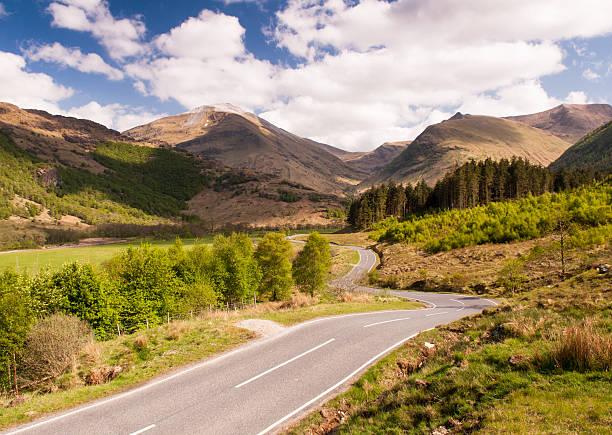 Meandering road in Glen Nevis stock photo