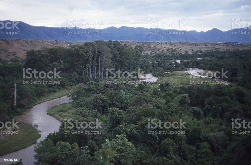 Meandering Rutshuru River Riparian Forest Western Rift Valley Congo Africa stock photo