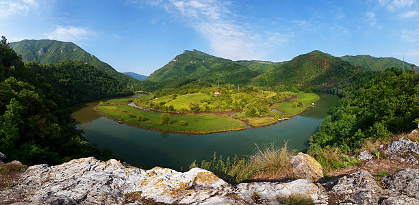 Meanders of Morava Meanders of Morava near Ovčar moravia stock pictures, royalty-free photos & images
