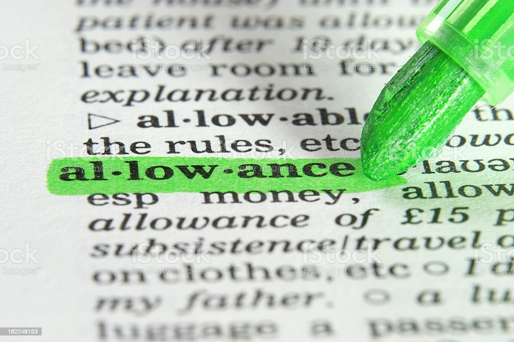 meaning of allowance defintion highligted in dictionary royalty-free stock photo