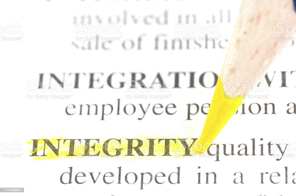 meaning of integrity marked in dictionary stock photo