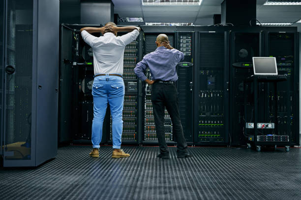 Meanwhile in the server room... stock photo
