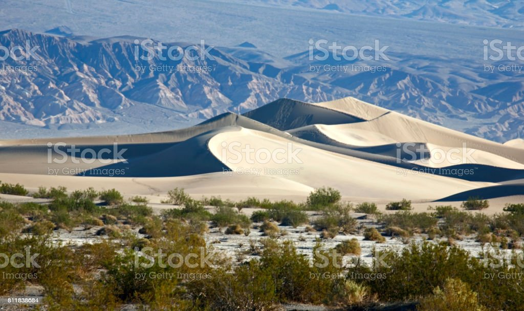 Meaquite flat sand dunes in Death valley stock photo