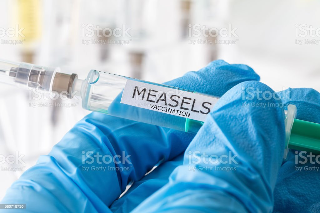 measels vaccination stock photo