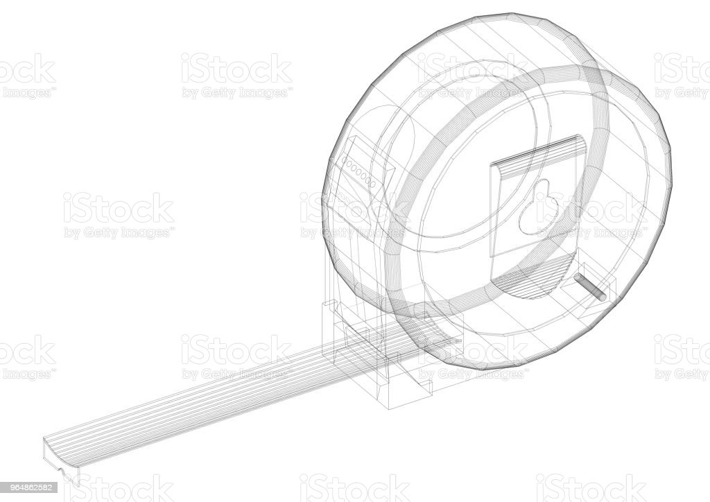 Measure Tape blueprint - isolated royalty-free stock photo