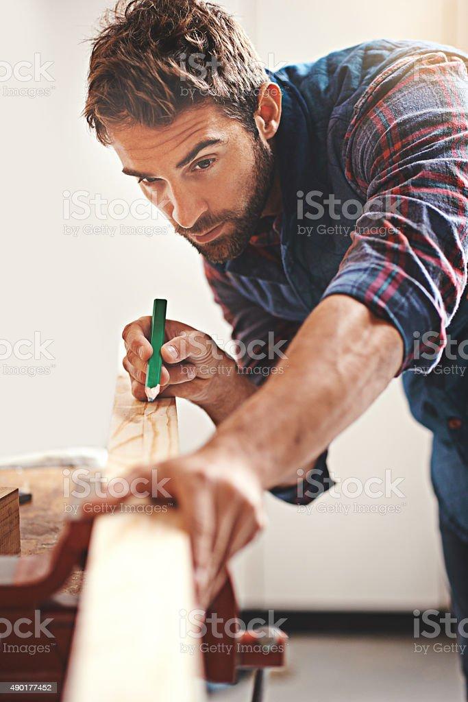 Measure twice, cut once stock photo