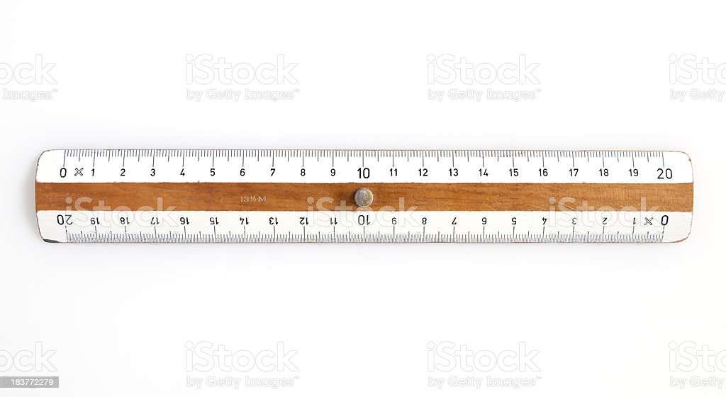 Measurement Concept: Wooden Ruler on White stock photo